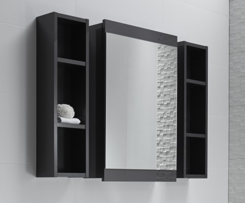 Soji 500 Mirror Cabinet, 200 Shelf Units Graphite - RRP $1760