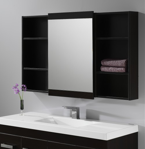 Soji 500 Mirror Cabinet, 350 Open Shelves Dark Oak - RRP $880