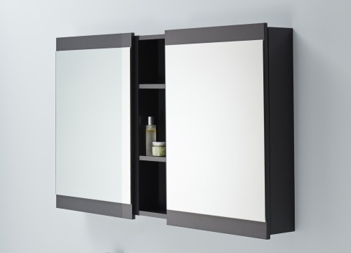 Mirrored Bathroom Cabinet Double Doors Bath Wall Mounted Storage Furniture White: Soji Mirror Cabinet