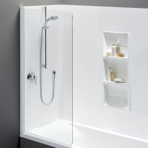 Solace 1675 Shower Over Bath Moulded Wall Standard Swing Panel - RRP $1740