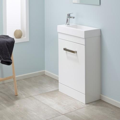 Mini Composite 500 Floor Velaire White Gloss Sleek Handle - RRP $570