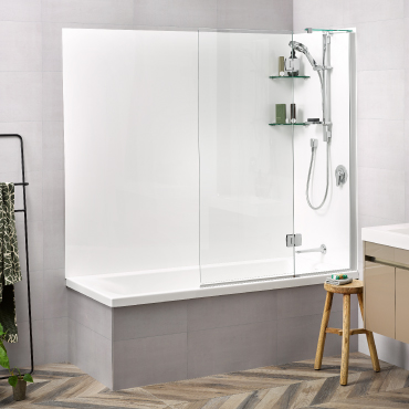 Solace 1800 Flat Wall Shower Over Bath Allora Swing Panel - RRP $2150