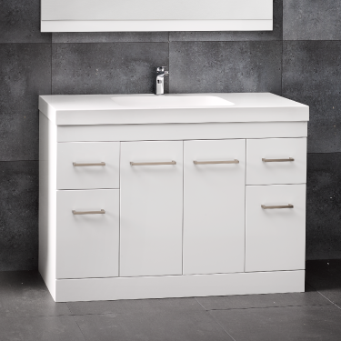 Cara Velaire 1200 Floor White Gloss Box Handle - RRP $2160
