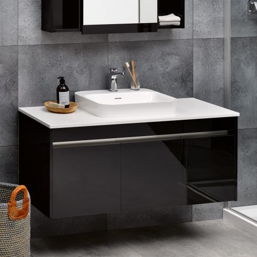 Sirocco Alumino 1200 Exochique Black Snow Bench Top Serifos Basin one tap hole - RRP $3870