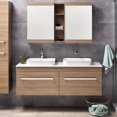 Sirocco Soltero 1500DB Wall Dusky Elm Sleek Handle Frosty Carrina Bench Serifos Basin - RRP $4380