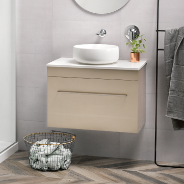 Sirocco Soltero 750 Wall Cahmpagne Box Handle Frosty Carrina Bench Circa Basin - RRP $2870