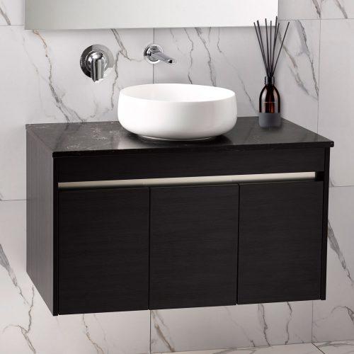 Sirroco Alumino 900 Charred Oak Vanilla Noir Bench top Circa Basin - RRP $2840