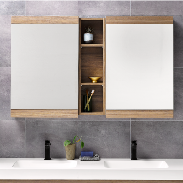 Soji 500 Mirror Cabinets and Soji 200 Open Shelf Dusky Elm - RRP $1120