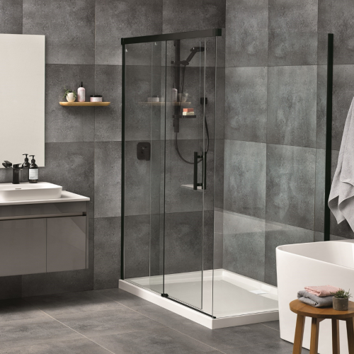 Motio 1400x1000 2 Sided Shower on Tiled Wall with Black Joinery Upgrade Kit